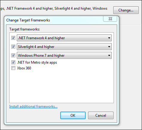Select the Frameworks you want