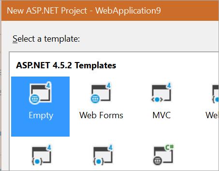 New Empty ASP.NET Project