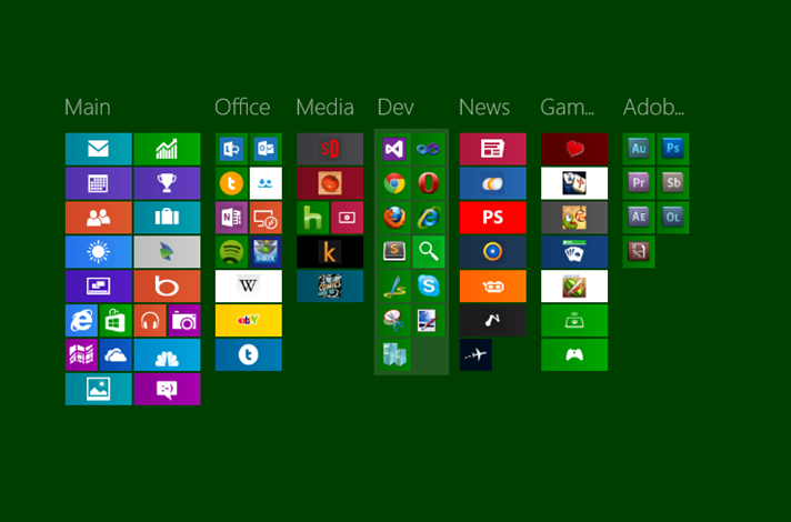 Lots of Icons, Zoomed out and Named in Groups