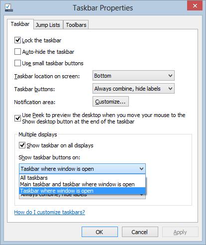 Multiple Monitor Taskbars in Taskbar Properties