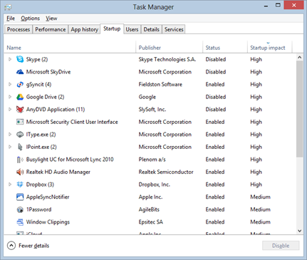 Startup in Task Manager