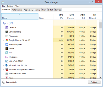 Apps in Task Manager