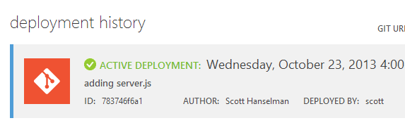 There's my deployment in the Azure Portal