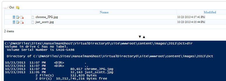 Images in Ghost in the Azure Kudu Debug Console