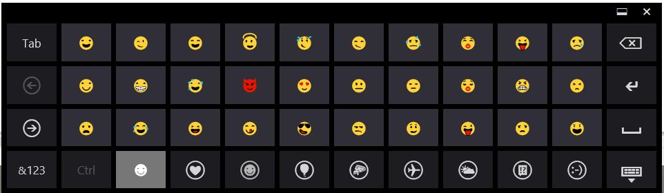 Windows 8.1 Emoji Touch Keyboard