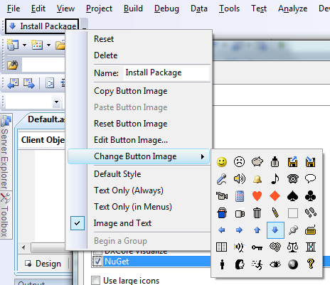 """Creating a new Toolbar with """"NuGet Install"""" on it"""