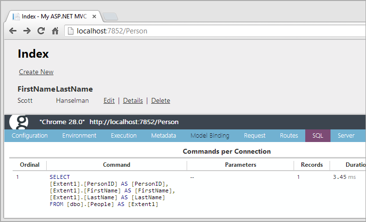 EF SQL queries viewed within Glimpse