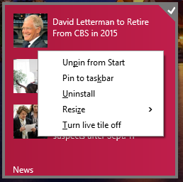 Context Menus are in the Start Menu now