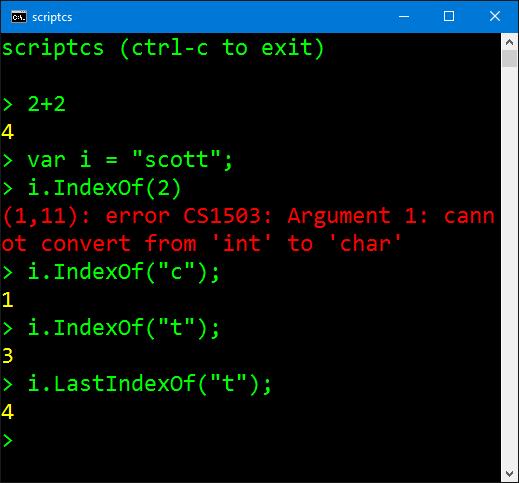 The C# Interactive Shell CSI