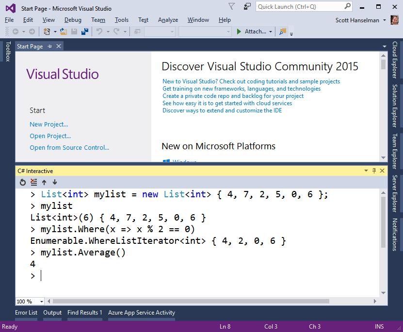 C# Interactive REPL inside Visual Studio