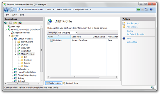 Using IIS Manager to edit User Profile schema