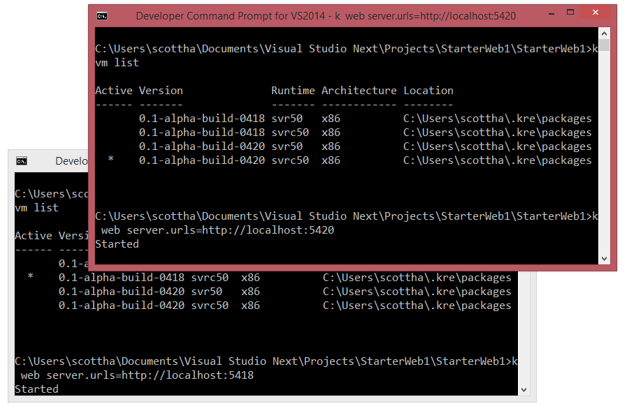 Two Command Prompts two .NET Frameworks