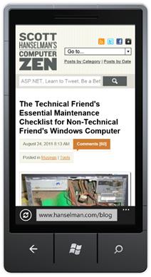 This site on a Windows Phone 7 Mango