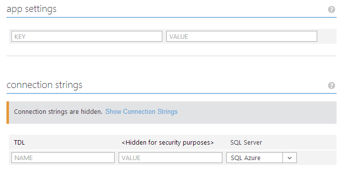 Azure hides connection strings