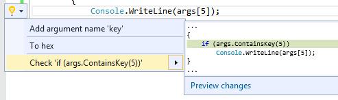 CheckDictionaryKeyValueCodeRefactoring