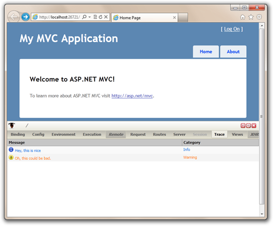 Gimpse DIV up on the default ASP.NET MVC page