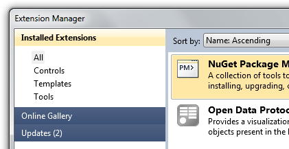 Extension Manager with obscure and hard to find Updates button