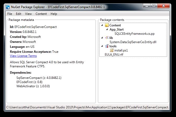 NuGet Package Explorer - EFCodeFirst.SqlServerCompact.0.8.8482.1