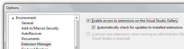 Visual Studio Options - Automatically check for Package Updates