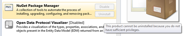 NuGet with the uninstall button grayed out
