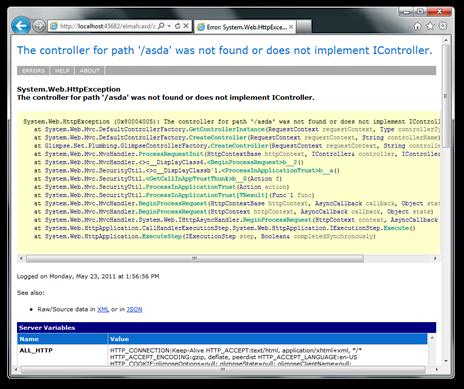 Screenshot of an ELMAH log