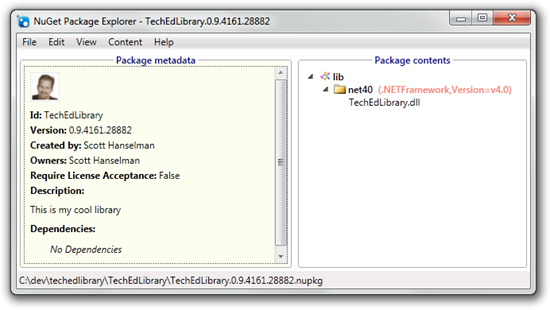 My package in the NuGet Package Explorer