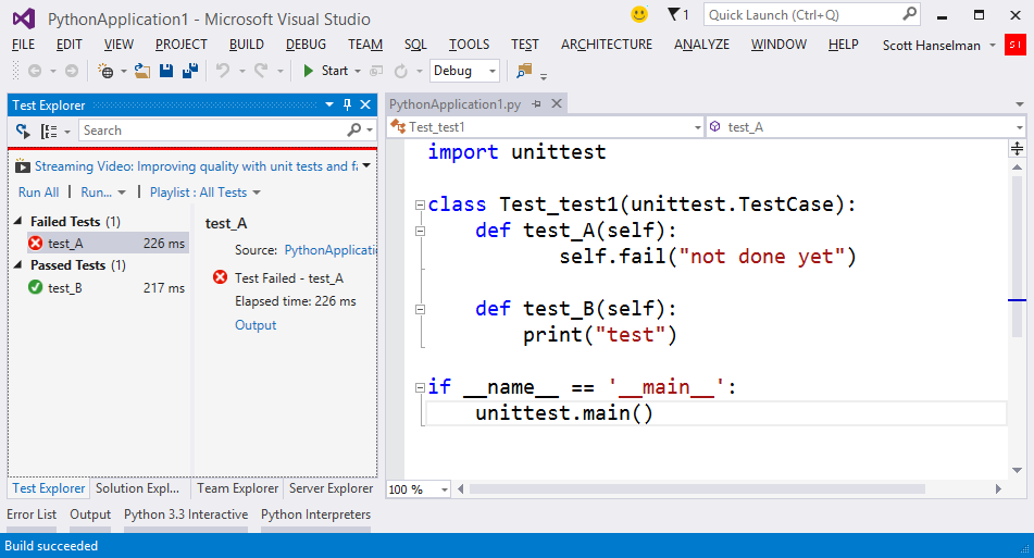 Unit Testing in Python and VS? My heart can't take it!