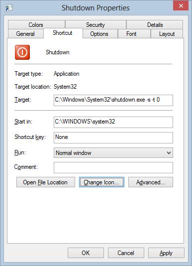 Shutdown Icon customized