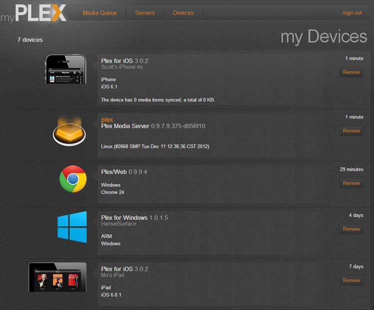 Plex has a list of devices atached