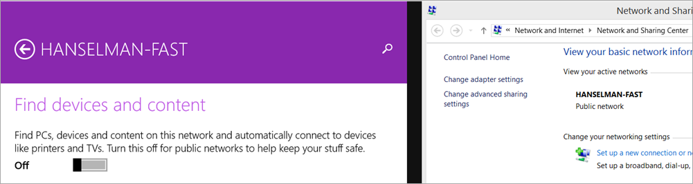 Switching a Network Public in Windows 8