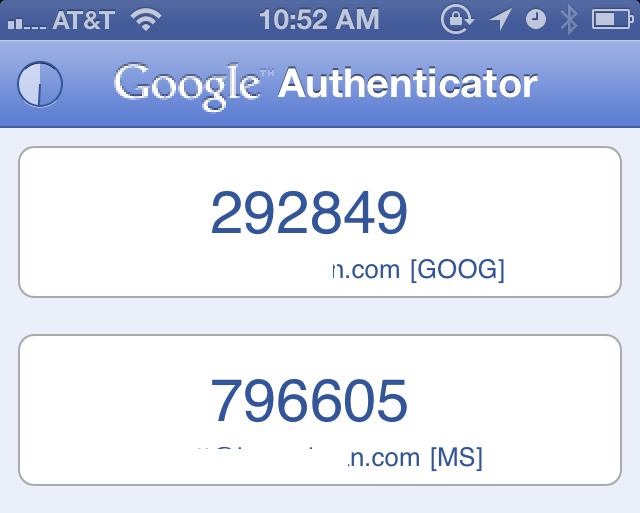 Two factor auth for Microosft and Google within the Google Authenticator app