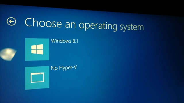 Selecting No Hyper-V