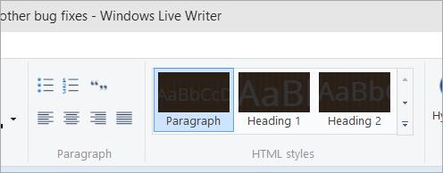 Windows Live Writer with black styles
