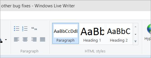 Using the Default Windows Live Writer Theme