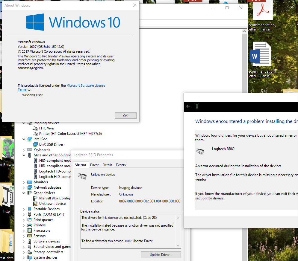 Logitech BRIO stops working on Windows 10 Insiders UPGRADE