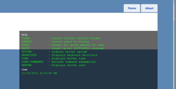 A bash-like shell overlaid on a website