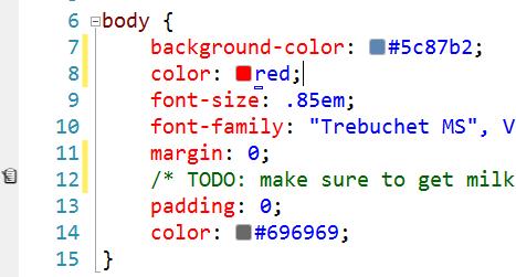 A nice visual refresh to the Visual Studio CSS editor