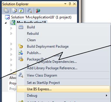 "The ""Use IIS Express"" option in Visual Studio"