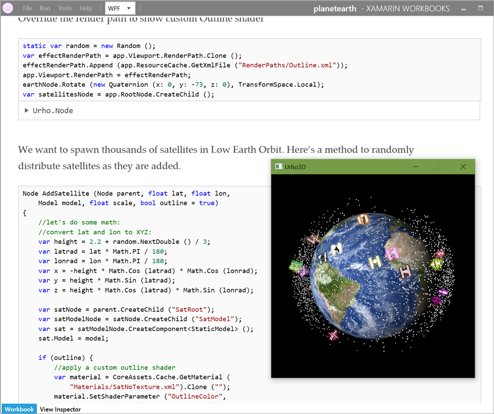 3D Earth in Xamarin Workbooks