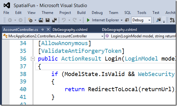 Visual Studio 2012 with the ALL CAPS menu removed and the VS2010 colors restored