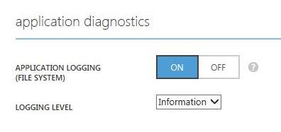 The new Application Diagnostics logging switch