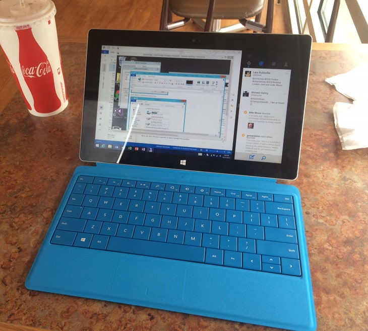 Surface remoted into Azure running Visual Studio