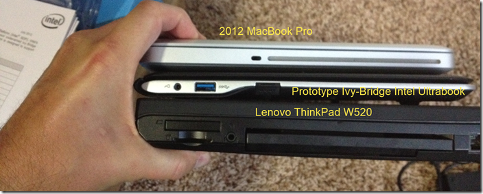 Stacking the Ultrabook next to a MacBook Pro and Lenovo W520 to compare thickness.