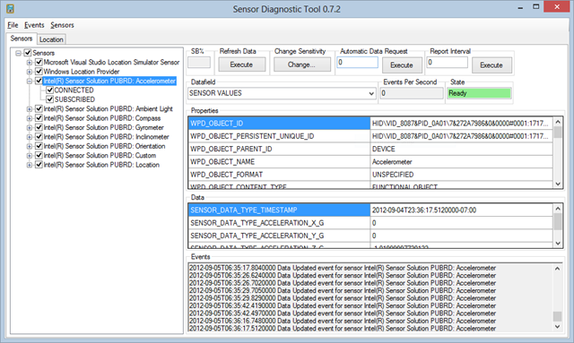 Windows Sensor Diagnostic Tool