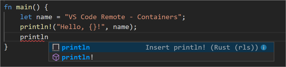 Intellisense from a container running Rust and VS Code Remote Containers