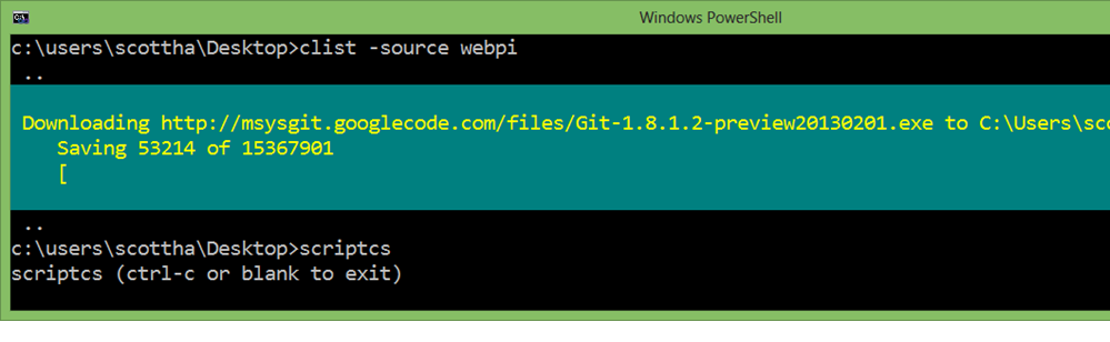 Chocolatey installs Git