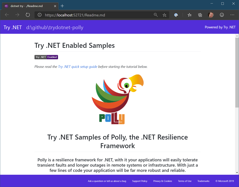Interactive local documentation with Try.NET