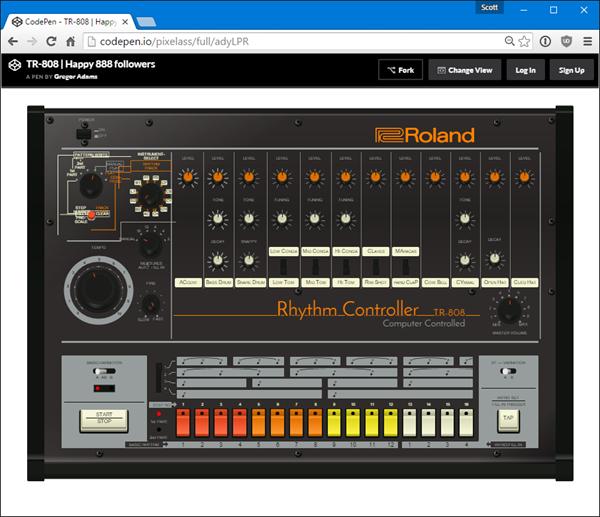 Magical Roland 808 written in CodePen