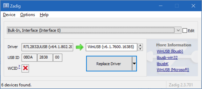 Updating SDR wtih Zadig
