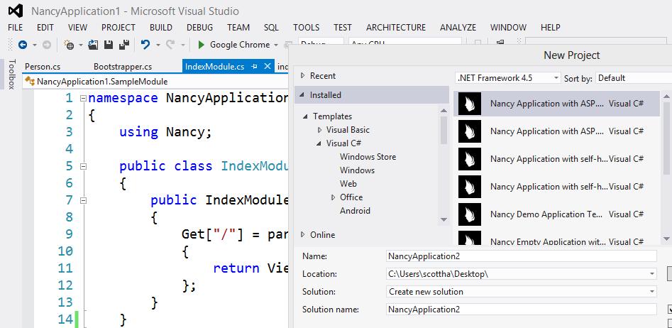 NancyFX inside Visual Studio